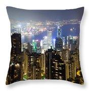 Hong Kong Harbor From Victoria Peak At Night Throw Pillow