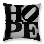 Hope In Black And White Throw Pillow