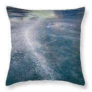 Ice Pattern On Frozen Abraham Lake Throw Pillow