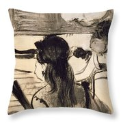 Illustration From La Maison Tellier By Guy De Maupassant Throw Pillow