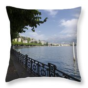 Lake Front With Trees Throw Pillow