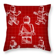 Lego Figure Patent 1979 - Red Throw Pillow