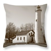 Lighthouse - Sturgeon Point Michigan Throw Pillow