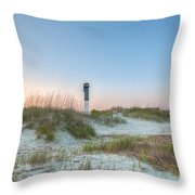 Sullivan's Island Dunes To Lighthouse View Throw Pillow