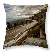 Linn Cove Viaduct During Winter Near Blowing Rock Nc Throw Pillow