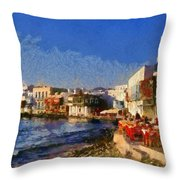 Little Venice In Mykonos Island Throw Pillow