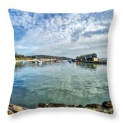 Lyme Regis Harbour Throw Pillow
