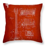 Mccarty Gibson Les Paul Guitar Patent Drawing From 1955 - Red Throw Pillow