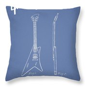 Mccarty Gibson Stringed Instrument Patent Drawing From 1958 - Light Blue Throw Pillow
