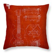 Mccarty Gibson Stringed Instrument Patent Drawing From 1969 - Red Throw Pillow by Aged Pixel