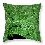 Melbourne Street Map - Melbourne Australia Road Map Art On Color Throw Pillow