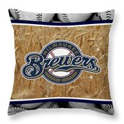 MILWAUKEE BREWERS Throw Pillow by Joe Hamilton