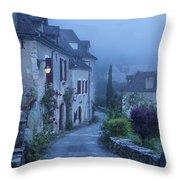 Misty Dawn In Saint Cirq Lapopie Throw Pillow by Brian Jannsen