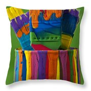 Multicolored Paint Can With Brushes Throw Pillow