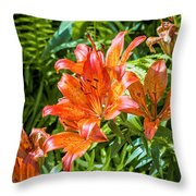 Orange Lilium Throw Pillow
