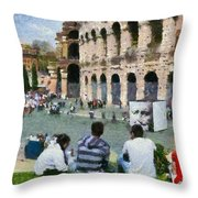 Outside Colosseum In Rome Throw Pillow