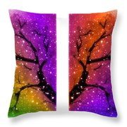 4-panel Snow On The Colorful Cherry Blossom Trees Throw Pillow