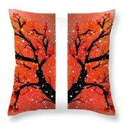 4-panel Snow On The Orange Cherry Blossom Trees Throw Pillow