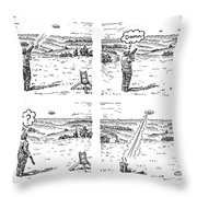4 Panels.  Man Shoots At A Grout Which Then Turns Throw Pillow