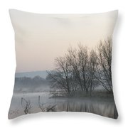 Panorama Landscape Of Lake In Mist With Sun Glow At Sunrise Throw Pillow by Matthew Gibson