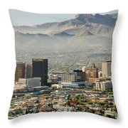Panoramic View Of Skyline And Downtown Throw Pillow