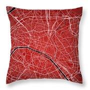 Paris Street Map - Paris France Road Map Art On Colored Backgrou Throw Pillow