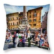 Piazza Della Rotonda In Rome Throw Pillow