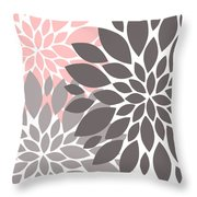 Pink Gray Peony Flowers Throw Pillow