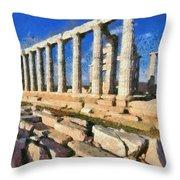 Poseidon Temple Throw Pillow