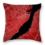 Quebec City Street Map - Quebec City Canada Road Map Art On Colo Throw Pillow