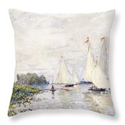 Regatta At Argenteuil Throw Pillow by Claude Monet