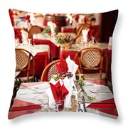 Restaurant Patio In France Throw Pillow by Elena Elisseeva