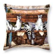 Ring Tailed Lemurs Throw Pillow