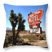 Route 66 - Hill Top Motel Throw Pillow