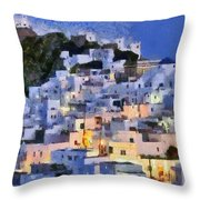 Serifos Town During Dusk Time Throw Pillow