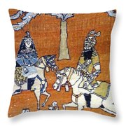Shahnameh Ferdowsi Rostam And Sohrab Photos Of Persian Antique Rugs Kilims Carpets  Throw Pillow