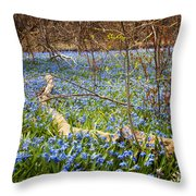 Spring Blue Flowers Wood Squill Throw Pillow