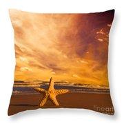 Starfish On The Beach At Sunset Throw Pillow