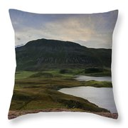 Stunning Sunrise Panorama Landscape Of Heather With Mountain Lak Throw Pillow