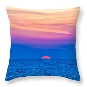 Sunset At Sea With Multiple Color Prizm Throw Pillow