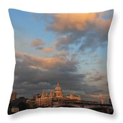 Sunset Over St Pauls Cathedral London Throw Pillow