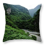 Taiwan Tropical Mountainscape Throw Pillow