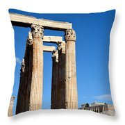 Temple Of Olympian Zeus And Acropolis In Athens Throw Pillow by George Atsametakis