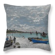 The Beach At Sainte-adresse Throw Pillow