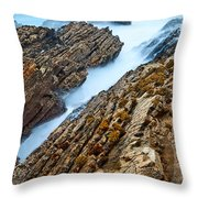 The Jagged Rocks And Cliffs Of Montana De Oro State Park In California Throw Pillow