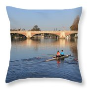 The River Thames At Hampton Court London Throw Pillow
