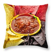 Tortilla Chips And Salsa Throw Pillow by Elena Elisseeva
