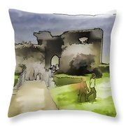 Tourists And The Path At Ruins Of The Urquhart Castle Throw Pillow