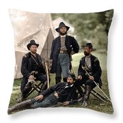 4 Union Officers Of The 4th Pennsylvania Cavalry Throw Pillow