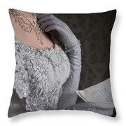 Victorian Woman Reading A Letter Throw Pillow